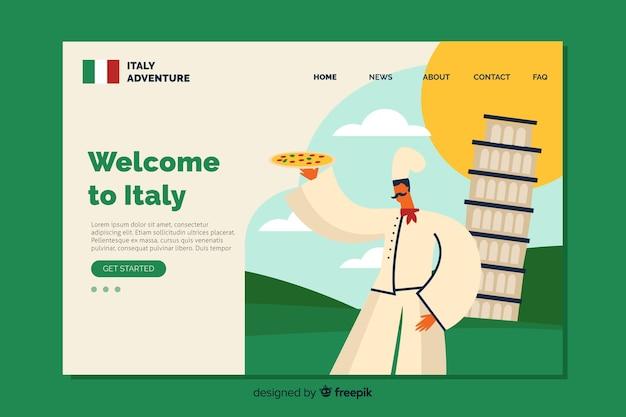 Добро пожаловать в шаблон целевой страницы италии Бесплатные векторы