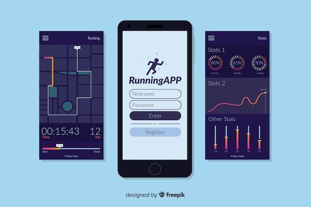 モバイル実行アプリのインフォグラフィック 無料ベクター