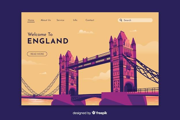 Добро пожаловать в шаблон целевой страницы англии Бесплатные векторы