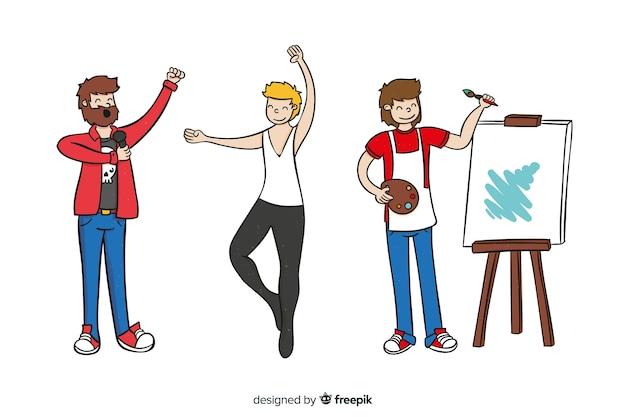 さまざまな分野のアーティストのセット。画家、ダンサー、歌手 無料ベクター