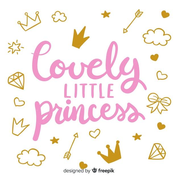 Надпись цитатой в стиле принцессы Бесплатные векторы