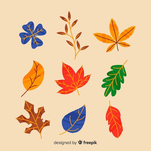 Рисованной осенний лес листья коллекции Бесплатные векторы