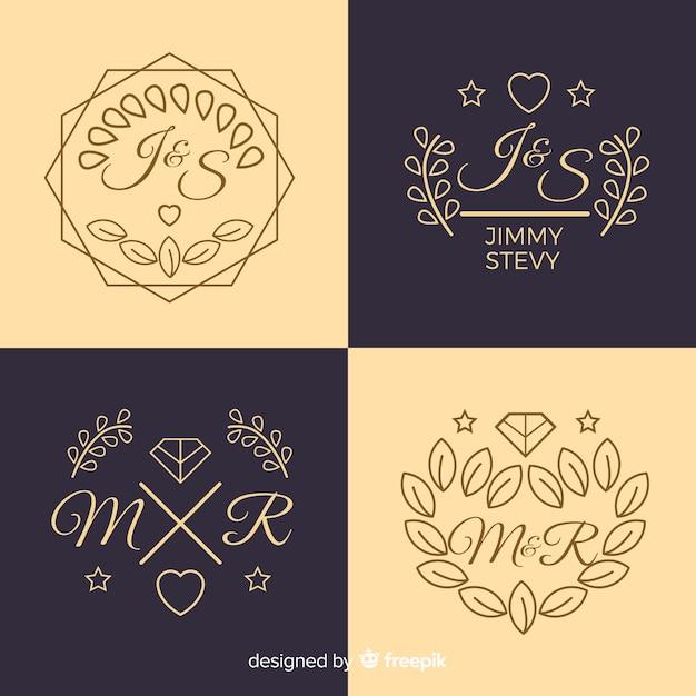 結婚式や花屋の美しくエレガントなロゴやロゴタイプ 無料ベクター