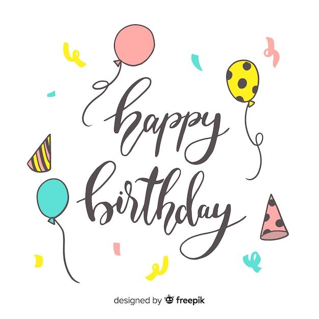 Креативная концепция с днем рождения надписи Бесплатные векторы