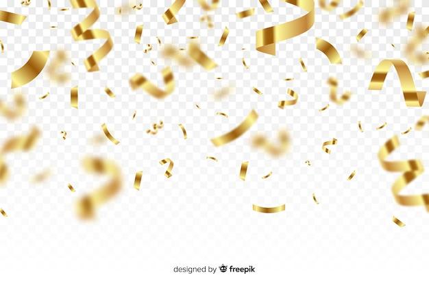 Роскошный фон с золотым конфетти падает Бесплатные векторы
