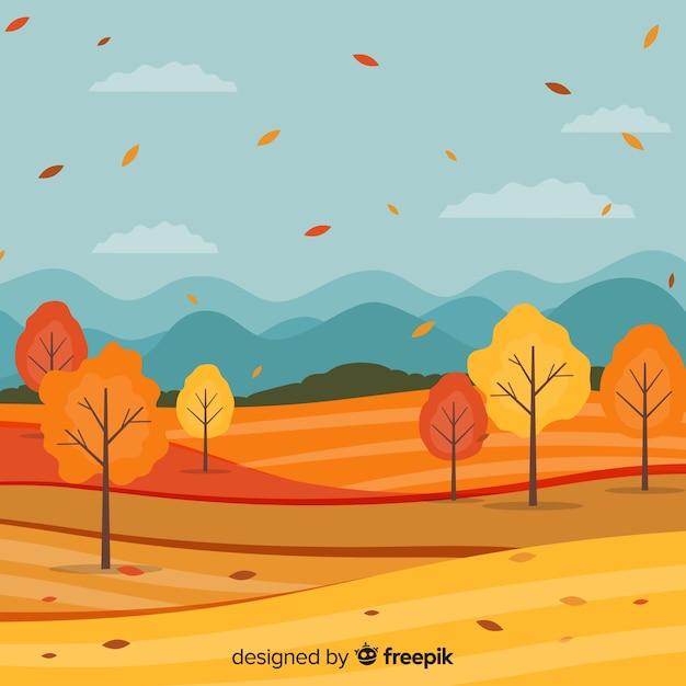 平らな秋の風景の背景 無料ベクター