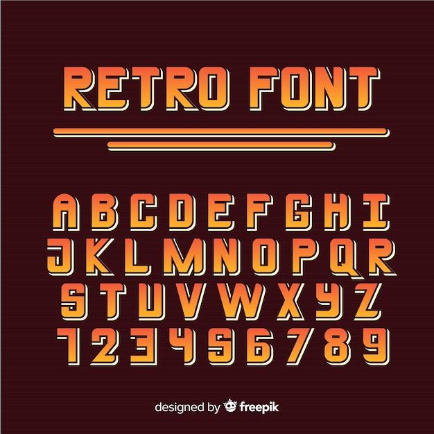 レトロなスタイルのフォントのアルファベット 無料ベクター