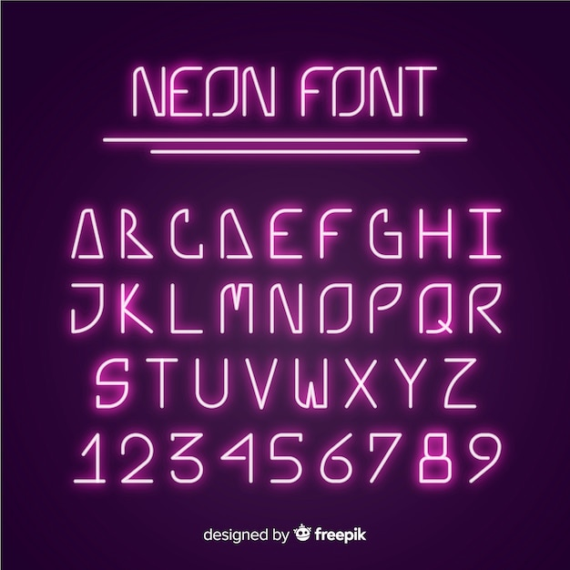 Шрифт алфавит в неоновом стиле Бесплатные векторы