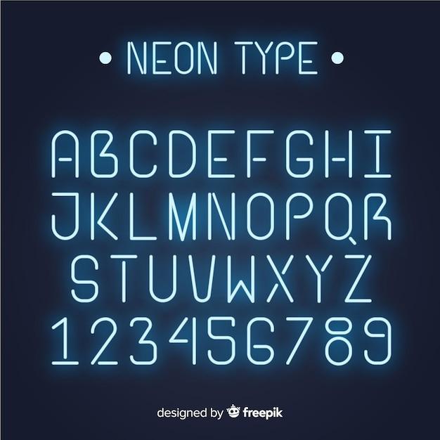 ネオンスタイルのフォントのアルファベット 無料ベクター