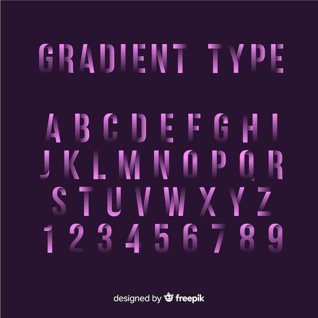 Шрифт алфавит в стиле градиента Бесплатные векторы