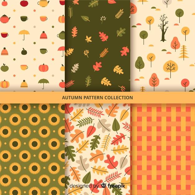 平らな秋パターンのコレクション 無料ベクター