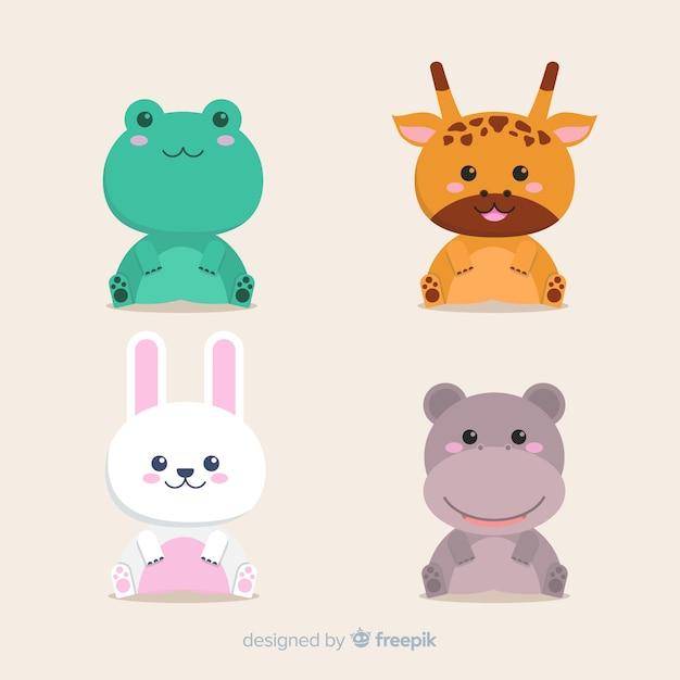 Набор тропических животных: лягушка, жираф, кролик, бегемот. плоский дизайн Бесплатные векторы