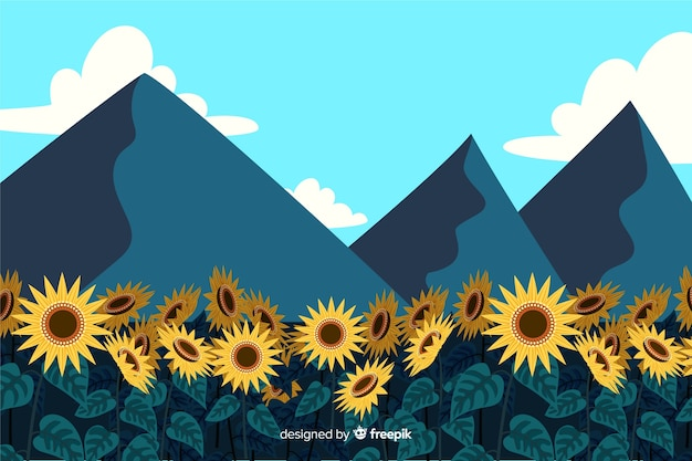 山々と美しい自然の風景のイラスト 無料ベクター