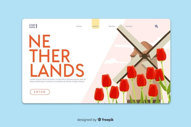 Добро пожаловать в шаблон целевой страницы в нидерландах Бесплатные векторы
