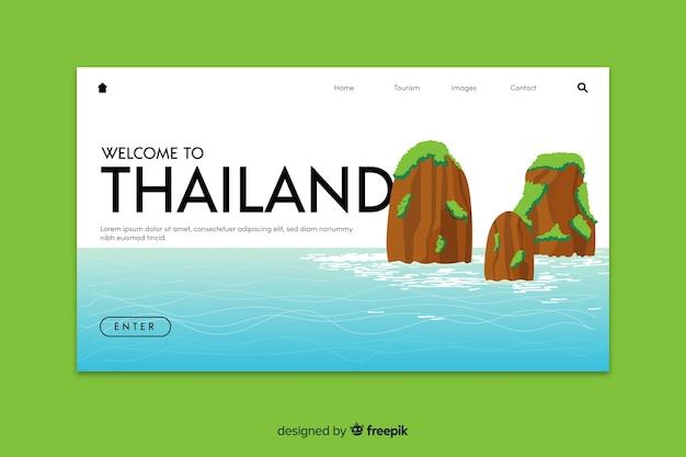 タイのランディングページテンプレートへようこそ 無料ベクター