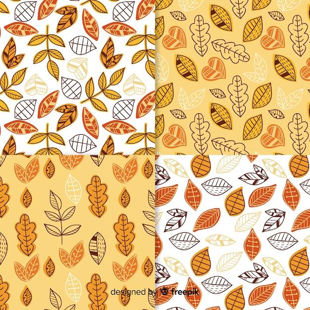 手描き秋模様のコレクション 無料ベクター