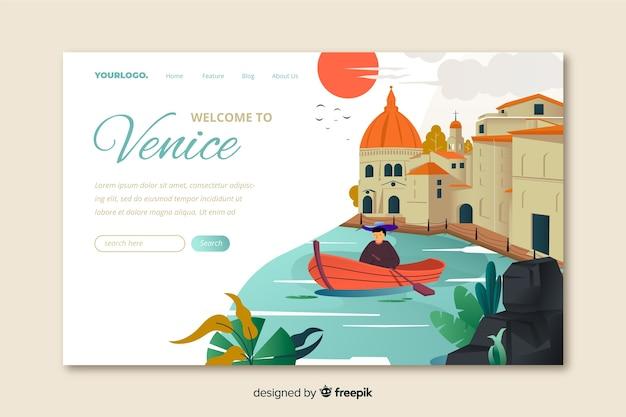 Добро пожаловать в шаблон целевой страницы венеции Бесплатные векторы
