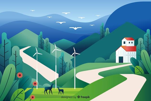 Ровный природный ландшафт с деревней Бесплатные векторы