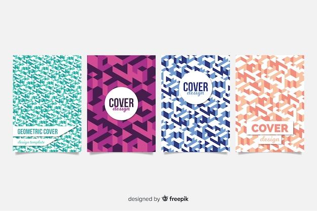 Шаблон обложки с набором геометрического дизайна Бесплатные векторы
