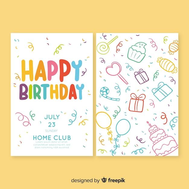 誕生日の招待状のテンプレートを手書きスタイル 無料ベクター