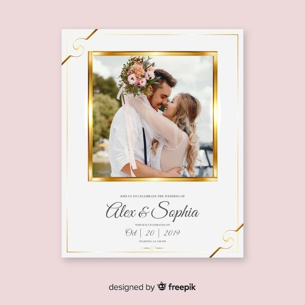 写真付きの美しい結婚式の招待カードテンプレート 無料ベクター