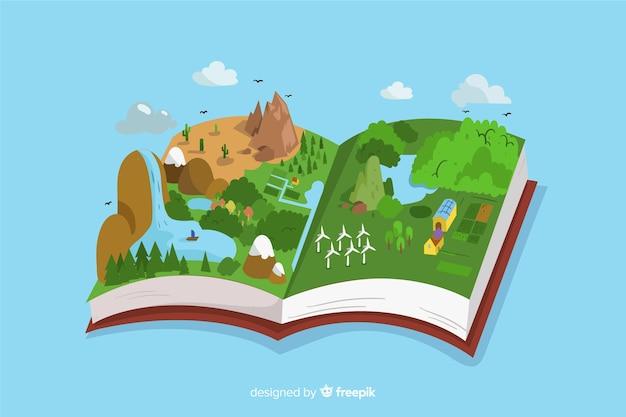 Концепция экологии. открытая книга с красивым иллюстрированным пейзажем Бесплатные векторы
