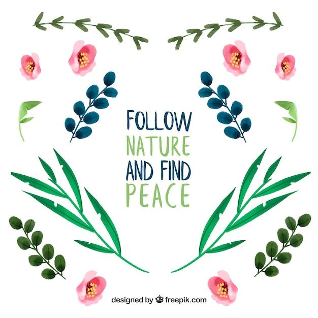 Следуй природе и найди мир. надпись цитата с цветочной темой и цветами Бесплатные векторы