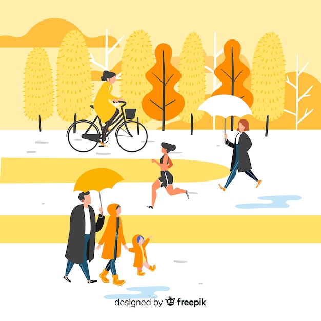 秋の公園の人々 無料ベクター