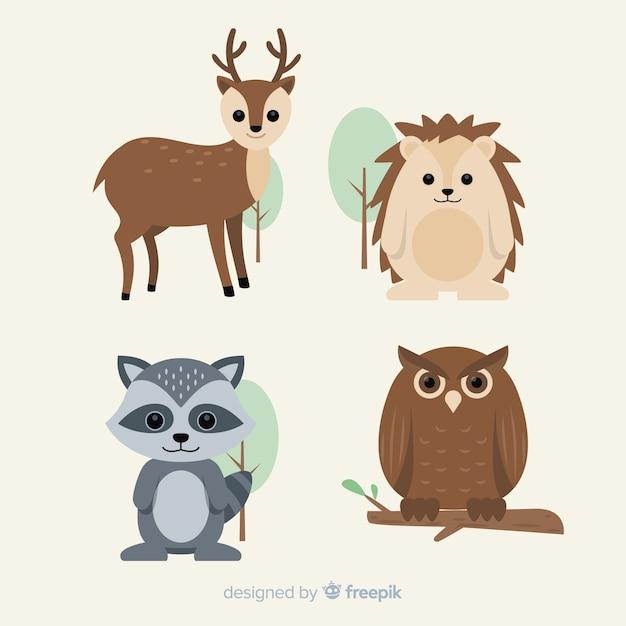 フラット秋の森の動物コレクション 無料ベクター
