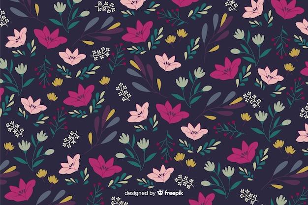 美しい花と花柄のデザインでカラフルな背景 無料ベクター