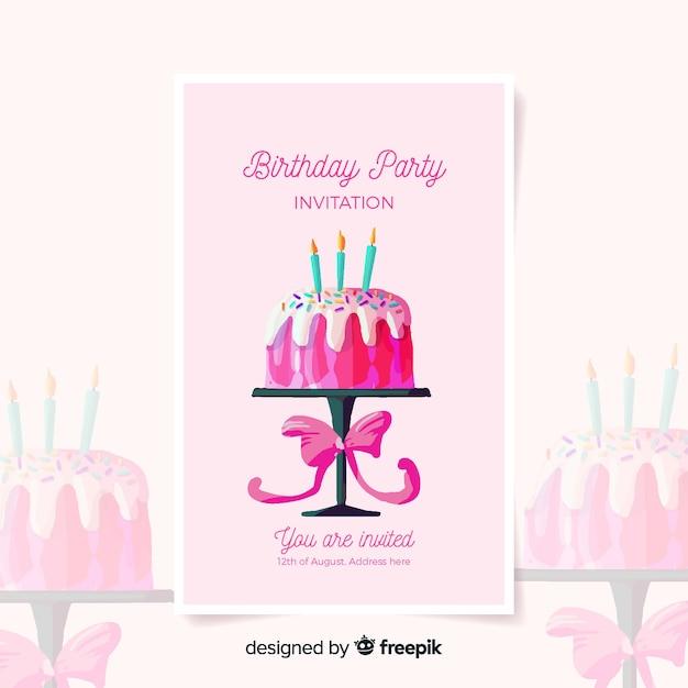 Шаблон приглашения на день рождения в стиле акварели Бесплатные векторы