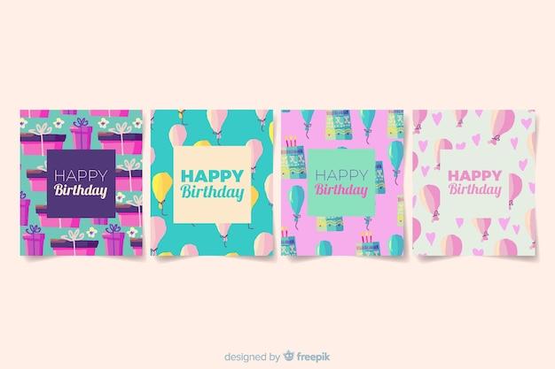 水彩風の誕生日カードコレクション 無料ベクター