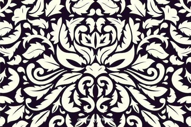 手描きの装飾的なダマスク織の背景 無料ベクター