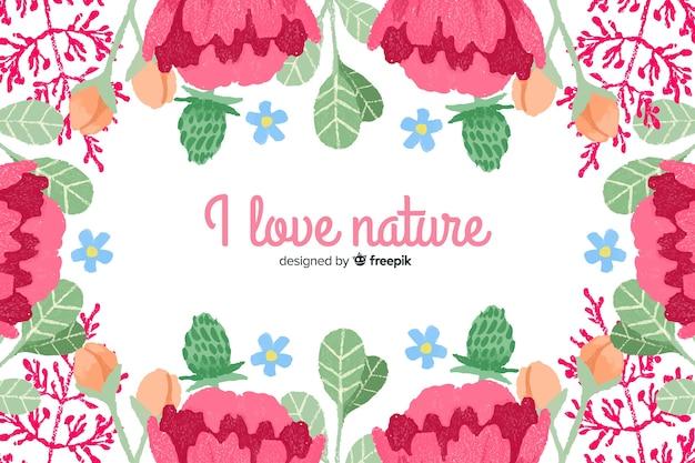 自然が大好き。花をテーマにした花とレタリングの引用 無料ベクター