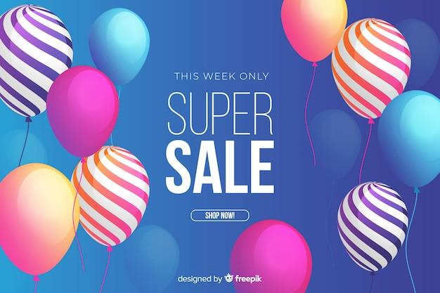 Фон продаж с реалистичными воздушными шарами Бесплатные векторы