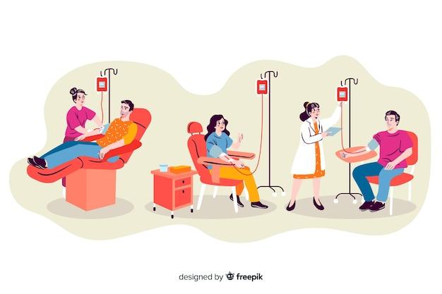 Иллюстрация людей, сдающих кровь Бесплатные векторы