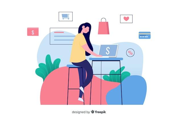 オンラインショッピングの概念とランディングページのイラスト 無料ベクター