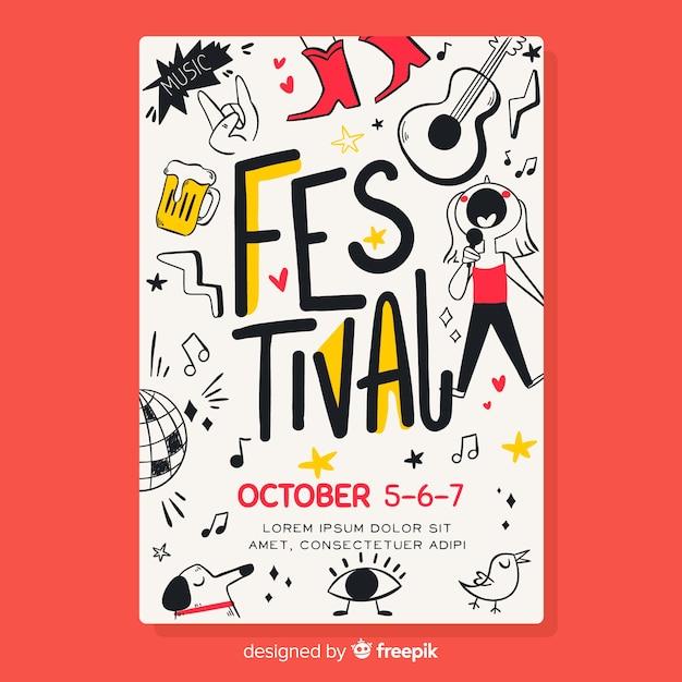 Нарисованный от руки плакат музыкального фестиваля Бесплатные векторы