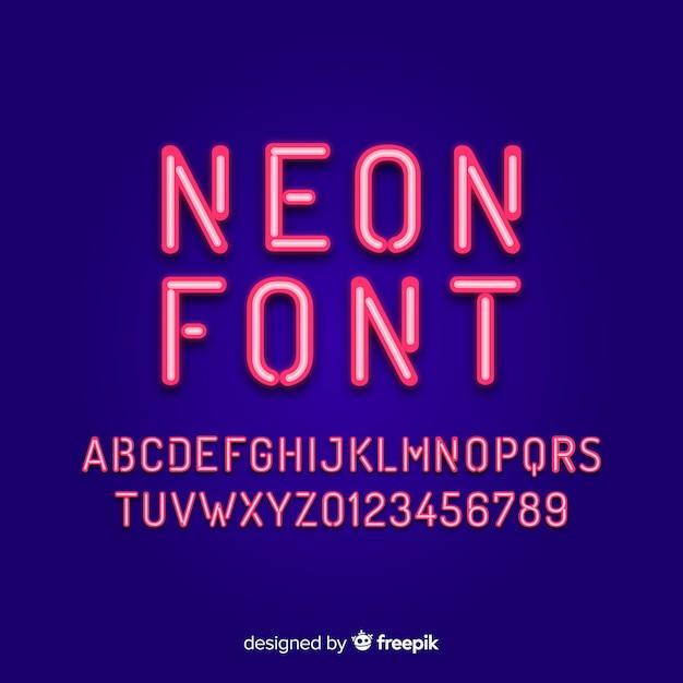 ネオンスタイルのアルファベットのフォント 無料ベクター