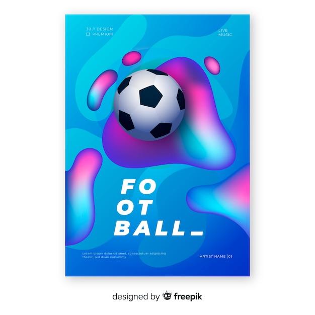 リアルなグラデーションサッカーポスターテンプレート 無料ベクター