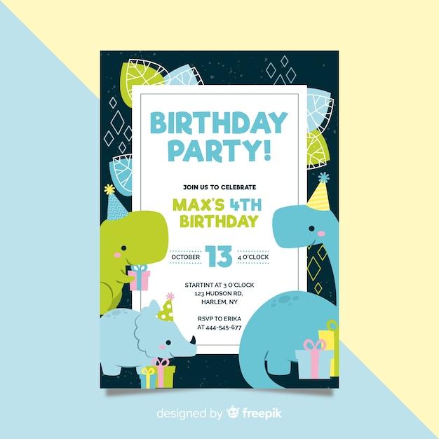 フラットスタイルの誕生日の招待状のテンプレート 無料ベクター