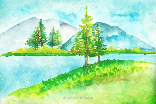 風景と水彩の自然の背景 無料ベクター