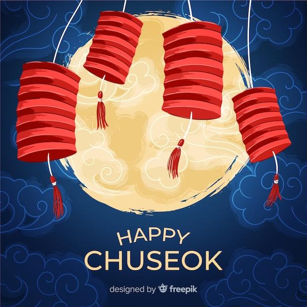 幸せ韓国チュソクの背景 無料ベクター