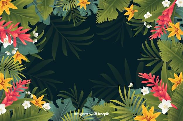Естественный фон с тропическими цветами Бесплатные векторы