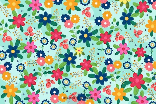 Естественный фон с яркими цветами Бесплатные векторы