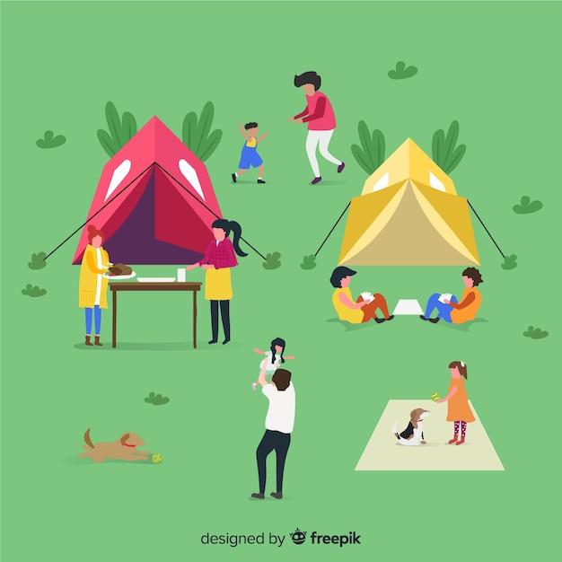 キャンプをしている人々のイラスト 無料ベクター