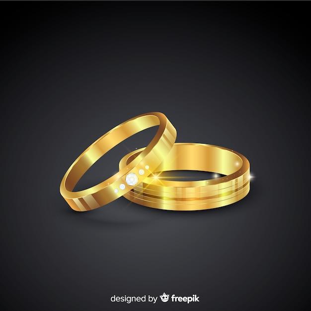 Золотые обручальные кольца в реалистическом стиле Бесплатные векторы