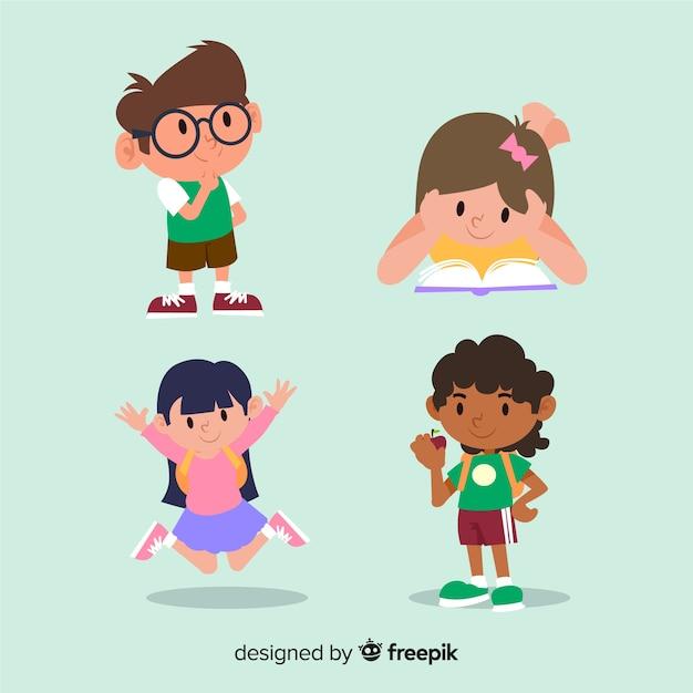 Многорасовые дети друзья плоский дизайн Бесплатные векторы