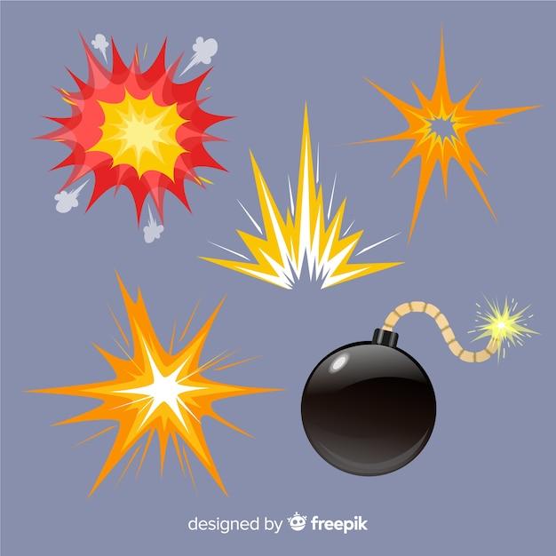 爆発効果の漫画スタイルのパック 無料ベクター