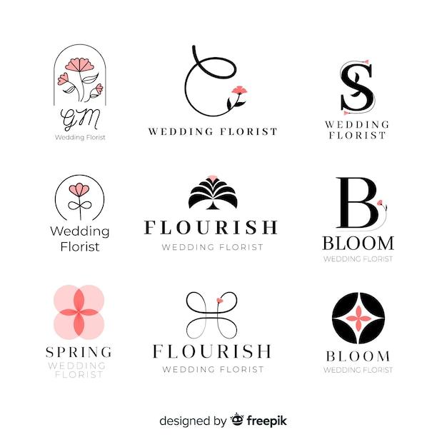 Коллекция логотипов свадебного флориста Бесплатные векторы